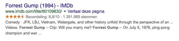 Een voorbeeld van de weergave van recensies in zoekresultaten