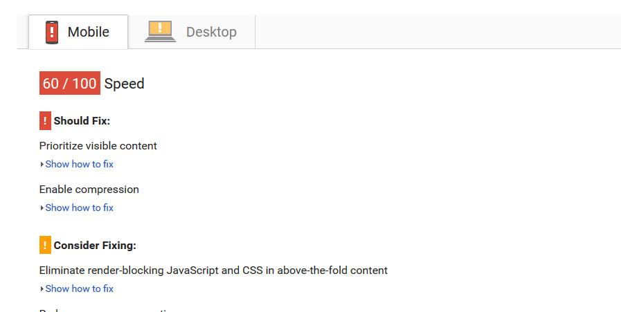 Voorbeeld Google PageSpeed Insights   Online marketingbureau yndenz