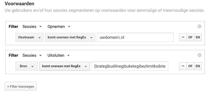 Voorbeeld van een geavanceerd segment tegen spam